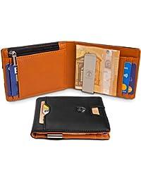 """TRAVANDO Portafoglio Uomo con Clip per Contanti""""LONDON"""" Porta carte di credito - 8 Tasche per la Carte - Protezione RFID - Regalo perfetto per gli Uomini - Confezione Regalo - Designed in Germany"""