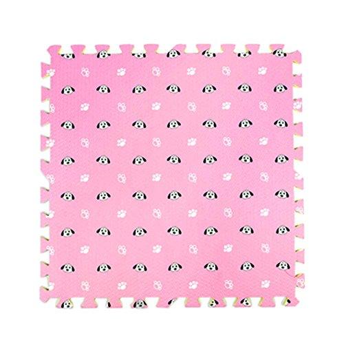 9 Pcs Nette Hunde Gedruckte Ineinander greifende Fußmatten Puzzle Spielmatte für Baby Kinderzimmer, # 01 (Greifende Ineinander Schaum)