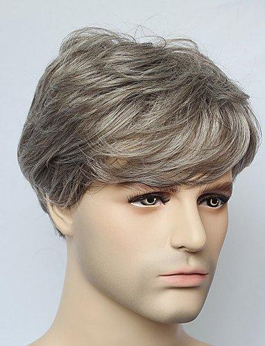 jiayy ohne Deckel Kurze Halbperücke, gerade grau Herren Synthetik für Mann der Mode der Perücke (Menschliche Brasilianischen Haar-erweiterungen)
