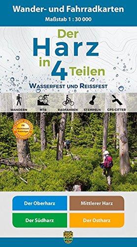 Der Harz in 4 Teilen: Wasserfestes und Reißfestes Wander- und Fahrradkarten-Set: Der Oberharz • Mittlerer Harz • Der Südharz • Der (Globus Hexe)