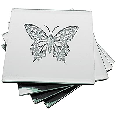 Quality Sparkle Butterfly Set Of 4 Glass Coasters Decor Accessories New and Boxed