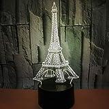 Lampe 3D tour Eiffel 7 Couleurs Tactile Télécommande USB Rechargeable LED Veilleuse pour Anniversaire Noël Fête