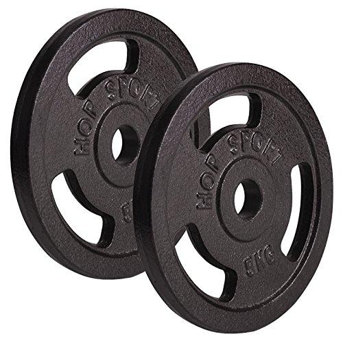 Hop-Sport Hantelscheiben 5kg 10kg 20kg 30kg 40kg Guss Gewichte Hantel Set Gewichtsscheiben 30mm (2 x 5 kg)