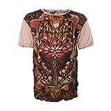 KUNST UND MAGIE Sure Buntes 70er Retro T-Shirt Hamsa Chakra Hand im Crinklelook Hippie Goa, Größe:XL, Farbe:Creme