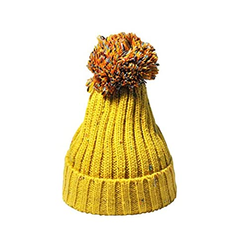 Womens Beanie,Clode® Women Lady Girls New Fashion Design Winter Crochet Hat Wool Knit Beanie Bobble Warm Cap Pom Pom with Various Color (Yellow)