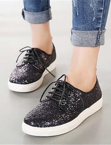 ZQ Scarpe Donna - Stringate - Casual - Punta arrotondata - Plateau - Di pelle - Nero / Argento , silver-us8 / eu39 / uk6 / cn39 , silver-us8 / eu39 / uk6 / cn39 black-us6 / eu36 / uk4 / cn36