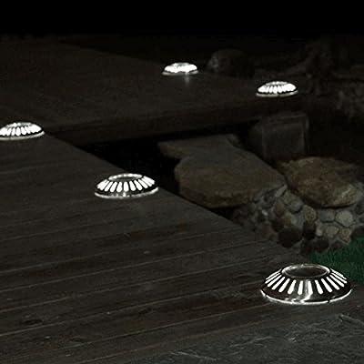 Garden Mile® Pack of 2 Wireless Solar Powered LED UFO Style Deck Lights Stainless Steel Garden Lighting Decking Lights Oudoor Lights For Patio Lighting