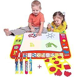 80*60CM Magia Doodle Comida/Agua Dibujo Pintura Comida,AEVEA Pizarra mágica Comida Doodle Deluxe Maxi Pad Pack de 4 bolígrafos para pizarra mágica
