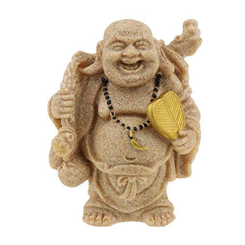 Sandstone Maitreya Happy Smile Buddha Statue Sculpture Hand Carved Figur (Maitreya-statue)