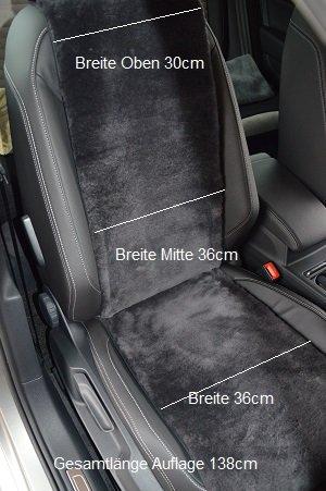 Autofell-Autositzauflage/ Sitzaufleger extra Breite 36cm aus echtem Merino Lammfell Premium (Schiefer) für Stoff-und Ledersitze geeignet