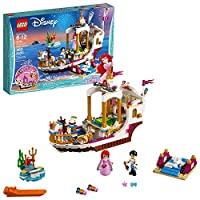 LEGO 41153 Disney Princess Ariel Royal Celebration Boat Toy, Prince Eric and Ariel figures, Little Mermaid Building Set for Kids