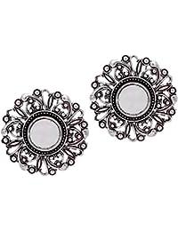 Total fashion German Silver Stud Mirror Earrings For Girls/Women