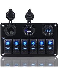 6Gang Panneau Interrupteur à bascule 12V-24V Dual USB prise de courant Voltmètre numérique Fxc pour voiture bateau marine–Bleu