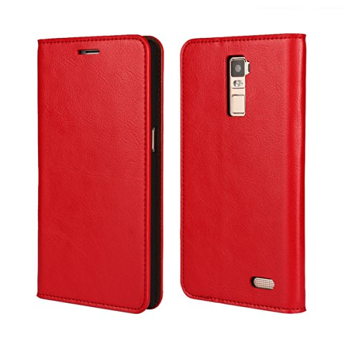 Banath Hülle für Oppo R7 Plus, PU Lederhülle Handyhülle Brieftasche[Stoßfest][Kreditkarten Slot][Magnetverschluss] Handy Schutzhülle Flip Cover(Rot)