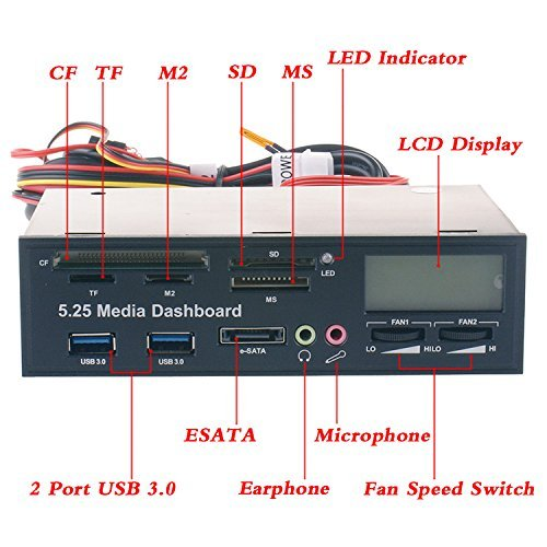 Eidoct 13,3 cm Multifunktions-USB-3.0-Hub CF TF M2 SD MS Kartenleser Fan Controller mit LCD-Display PC Frontpanel Media Dashboard eSATA Audio Kopfhörer Mikrofon -