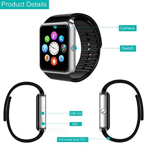 YAMAY Bluetooth Smartwatch Fitness Uhr Intelligente Armbanduhr Fitness Tracker Smart Watch Sport Uhr mit Kamera Schrittzähler Schlaftracker Romte Capture Kompatibel mit Android Smartphone - 3