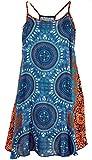 Guru-Shop Boho Dashiki Minikleid, Trägerkleid, Strandkleid, Tank Top, Damen, Petrol/orange, Synthetisch, Size:38, Kurze Kleider Alternative Bekleidung