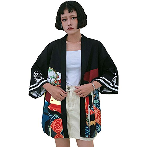 (ZooBoo Japanischer Kimono Kleid Strickjacke - Traditionelle Klassische Haori Kleidung Tokio Harajuku Antike Stile Lockere Jacke Robe Kostüm Bademantel Nachtwäsche Mädchen Frauen - Geisha (Schwarz))