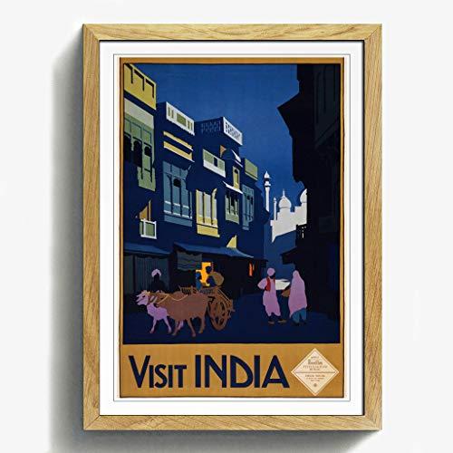 BIG Box Art Vintage Travel Poster Besuchen Sie Indien Schwarz Gerahmter Druck, Mehrfarbig, 24,5x 18/62x 45cm/a2-p, Holz, Eiche, 24.5 x 18-Inch/62 x 45 cm/A2