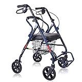 YONGMEI Ältere Walker-Senioren-Einkaufswagen-Rollstuhlbremsen, die Cane-Bankrollstühle Falten (Farbe : Blau)