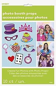 Unique Party- Paquete de 10 accesorios de cabina de fotos Fiesta de Té del SombrereroLoco, Multicolor, Amerikanische Größe (49521)