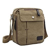 Neevas Men's Military Canvas Travel Hiking Satchel School Casual Shoulder Messenger Bag (Khaki)