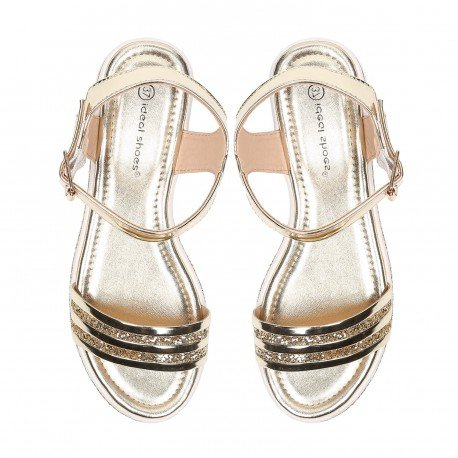 Ideal Shoes - Sandales vernies et effet pailletées avec semelle en gomme Andréane Doree