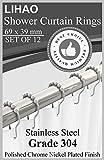 LIHAO 12x Duschringe Duschvorhangringe Edelstahl Aufhängeringe mit Gleitsystem, 12 Einzelhaken, 69x39mm Vergleich