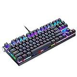 CK101 Wired Mechanische Tastatur 87 Tasten RGB-Spiel Tastatur LED Hintergrundbeleuchtung Blau Schalter,Black