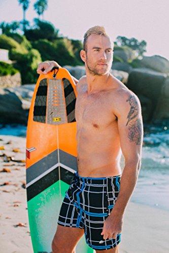 GUGGEN MOUNTAIN Herren Badeshorts Beachshorts Boardshorts Badehose kariert *High Quality Print* Schwarz