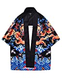 Hombres Imprimir Kimono Rebeca Camisa Retro Playa Chaqueta Manga 3/4 como Imagen XL