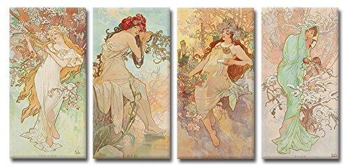 Time4art Alphons Alfons Mucha Print Canvas 4 Bild 4 x 80x40cm Die vier Jahreszeiten Jugendstils...
