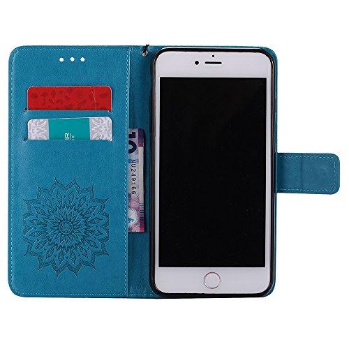JIALUN-Telefon Fall Für Apple IPhone 7 Plus Fall, mit Lanyard, Kartensteckplatz, Halterung, Magnetische Wölbung Sun Flower Flat Open Phone Shell ( Color : Pink ) Blue