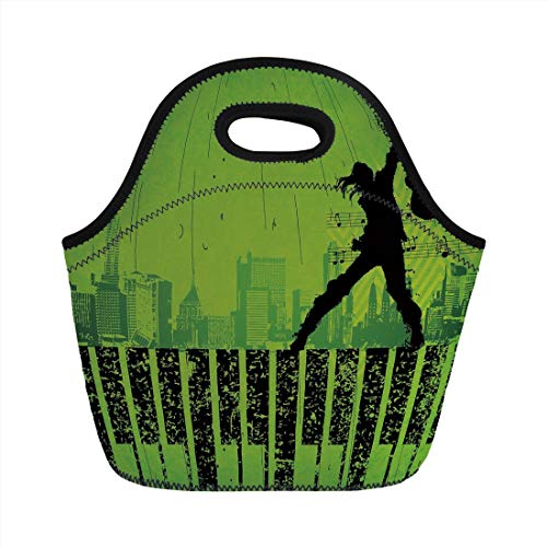 Jieaiuoo Portable Lunch Bag,Popstar Party,Music in The City Theme Singer with Electric Guitar on Grunge Backdrop,Lime Green Black,for Kids Adult Thermal Insulated Tote Bags
