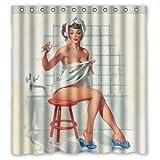 Sexy Badezimmer Kunst Vorhang für die Dusche Pretty Girl Baden-Vintage Retro Pin-Up Girls Body Art Arbeit Leinwand Malerei Stil Polyester-Wasserdicht-66(W) X72(H) inklusiv Ringe