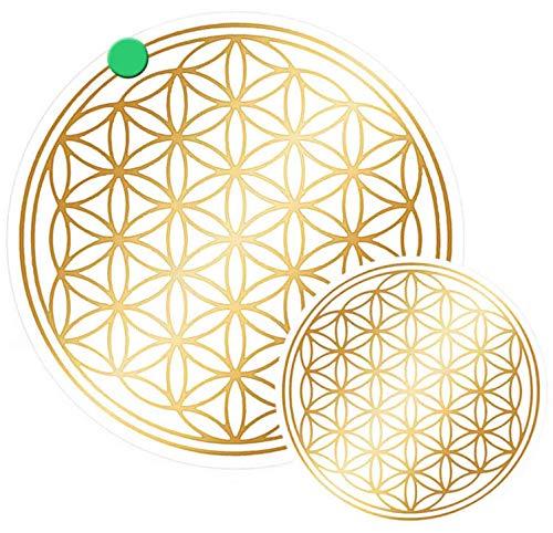 Gold Aufkleber Set (atalantes spirit Blume des Lebens Aufkleber Set S Abriebfest - Farbe Gold, 3x3, 2x5cm, Folie durchsichtig Lebensblume)