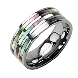 Mianova Band Ring Titan Wedding Triple Abalone Perlmutt Inlay Bandring Herrenring Damenring Partnerring Damen Herren Silber Silber Größe 73 (23.2)