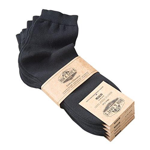 Rob & Dave's ORIGINAL 5 Paar Mid Cut Socken - Schwarz für Frau & Mann - Größen von 39-42 - Freizeit & Business Unisex Strümpfe - ohne drückende Naht - angenehmer Komfort-Bund