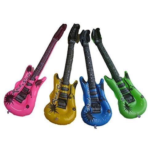 Juego de 4 guitarras hinchables para fiestas, colores al azar