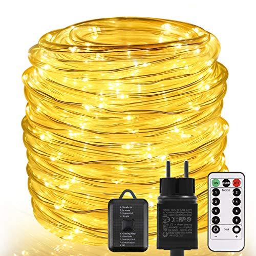 Lichterschlauch aussen ECOWHO 22M 336 LED Lichterkette außen mit Fernbedienung & Timer, 8 Modi IP67 Wasserdicht Lichterkette strombetrieben, Warmweiße LED Schlauch für Außen, Weihnachten, Halloween