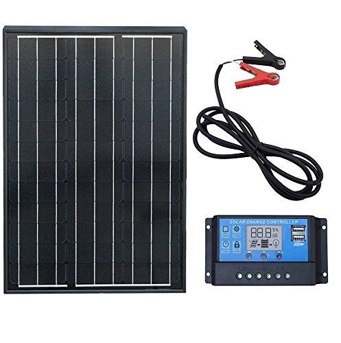 ECO-WORTHY - Kit de panel solar monocristalino 50W: 1 panel solar de 50 W + controlador de carga de 20Amp LCD + clips de bateriacute a con cable de 2M