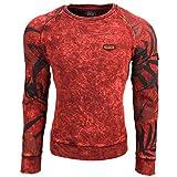 Rusty Neal Herren Sweatshirt Longsleeve Pullover Langarmshirt Pulli RN-9597-Y, Farbe:Bordo;Größe:2XL