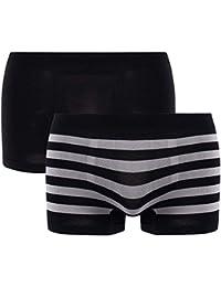 Pomm'poire - Lot de 2 boxers noir & rayé noir/gris Seamless - Homme