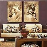 CXDM Wandbilder Drucke auf Leinwand Tiere Pferde Bild 2 Stücke Moderne Giclee-Grafik Für Home Office-Dekorationen,30 * 45 * 2