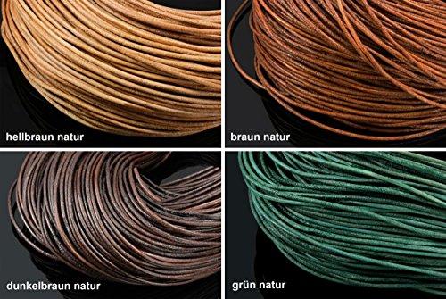 INWARIA Lederband Ø 1/2/3 mm Natur rauh Lederriemen Rindsleder rund Lederschnur DB-1 (1mm - 5m, Dunkelbraun, Natur) Echtes Leder-band