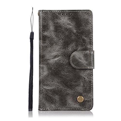 Chreey Alcatel A5 LED Hülle, Premium Handyhülle Tasche Leder Flip Case Brieftasche Etui Schutzhülle Ledertasche, Grau