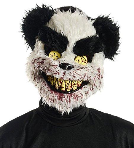 Schwarz/Weiß mit Teddybär Motiv Tier-Maske Halloween Kostüm (Halloween Masken Tier)