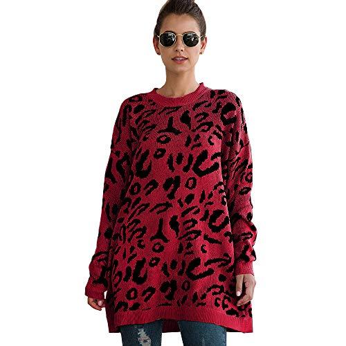 Mujer Jersey de Gran tamaño con Estampado de Leopardo Camisetas de Manga Larga Jersey de Punto Informal Jerseys