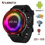 Reloj Inteligente LEMFO LEM8 4G Android 7.1.1 2 GB + 16 GB con cámara GPS de 2 MP y Pantalla AMOLED de 1.39 Pulgadas, batería de 580 mAh, Reloj Inteligente para Hombre para Android iOS