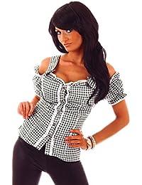 20612 Fashion4Young Damen Dirndlbluse Bluse Trachtenbluse Oktoberfest Lederhose Trachtenmieder